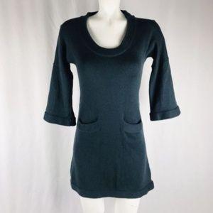 merino wool sweater knit dress XS 3/4 sleeve